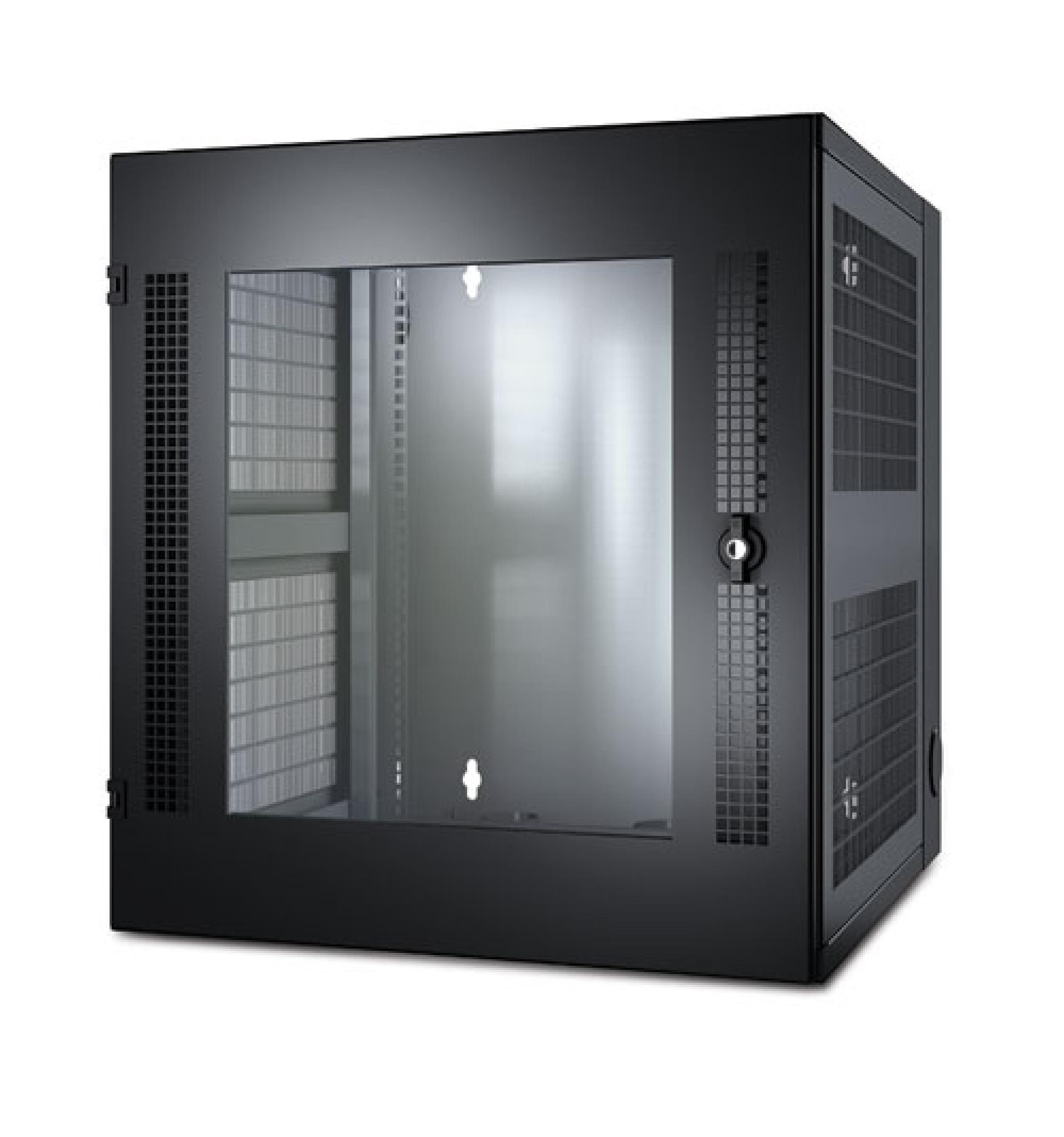 NetShelter WX, de 13 U, com trilho para montagem vertical com perfuração roscada e porta frontal de vidro, negro